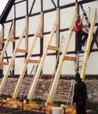 Stützen eines Fachwerkhauses