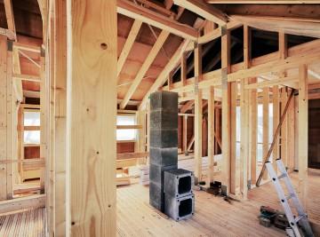 Innenansicht eines Fachwerk Neubaus